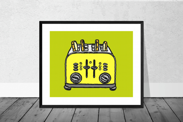 Yellow Toaster Print in 12 x 10 inch Mount