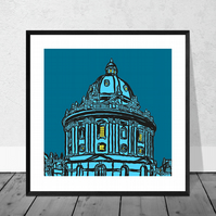The Radcliffe Camera In Blue - Illustration Print in 10 x 10 inch Mount