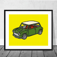 British Racing Green Mini Cooper Print in 12 x 10 inch Mount (SALE 20% DISCOUNT)
