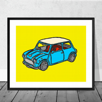 Bue Mini Cooper Print in 12 x 10 inch Mount (SALE 20% DISCOUNT)