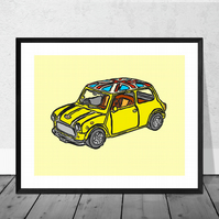 Yellow Mini Cooper Print in 12 x 10 inch Mount (SALE 20% DISCOUNT)