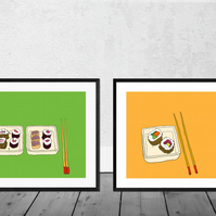 Set of 2 Sushi Art Prints in 12 x 10 inch Mounts