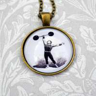 Vintage style circus strongman necklace