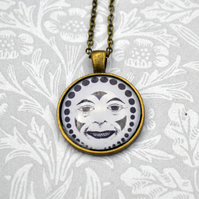 Vintage style creepy clown necklace