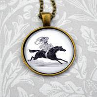 Circus acrobat girl on horse necklace in a vintage style