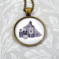 Potion and poison bottle illustrated pendant necklace