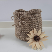 Crochet Storage Basket - Jute Flower