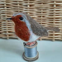 'Bob' Robin on a Vintage Wooden Bobbin