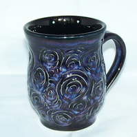 18-60 Wheel thrown textured mug - CLEARANCE PRICE