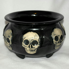 18-449 Sparkly Black Skull Cauldron
