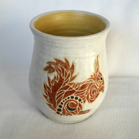 19-41 Stoneware pottery hand thrown vase or utensil holder with red squirrel
