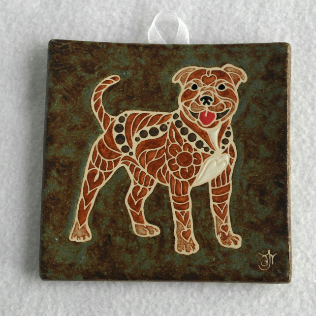 WP03 Wall plaque tile dog staffordshire bull terrier sbt staffy picture