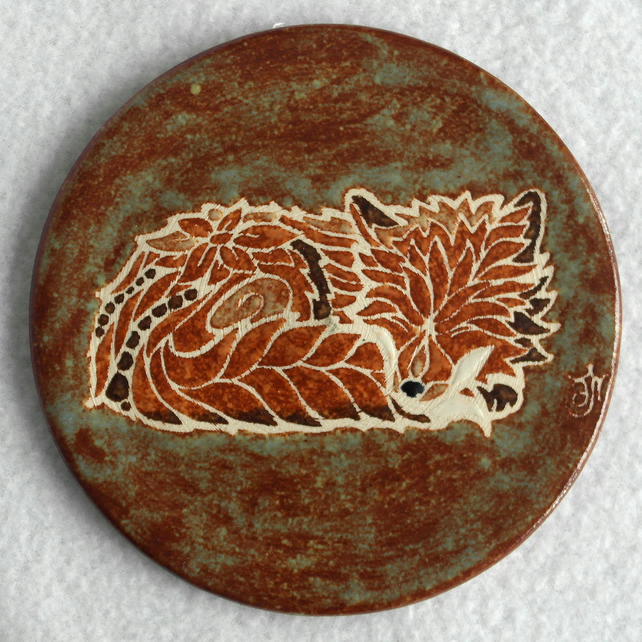 Wall plaque coaster sleeping fox