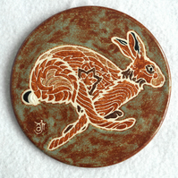 WP10 Wall plaque coaster running hare (Free UK postage)