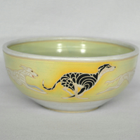 19-66 Bowl with running dogs design greyhound saluki whippet