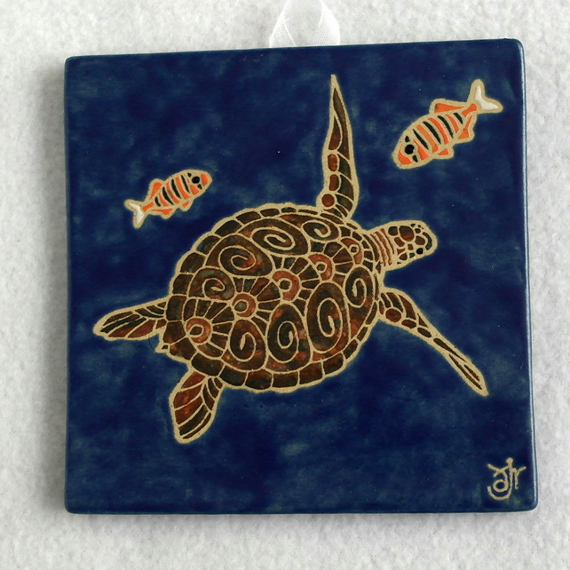 WP13 Wall plaque tile turtle picture
