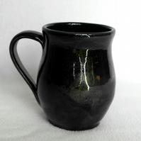 18-216 Wheel thrown black mug - CLEARANCE PRICE