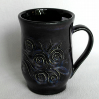 18-61 Wheel thrown textured mug - CLEARANCE PRICE