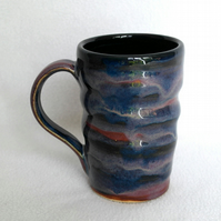 18-400 Ridged mug with drippy glaze - CLEARANCE PRICE