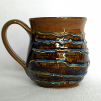 18-18 Wheel thrown textured mug - CLEARANCE PRICE