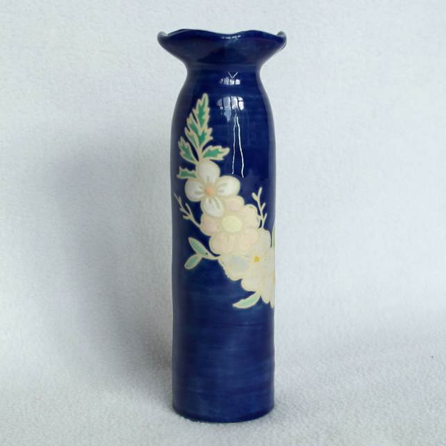 19-100 Ceramic stoneware pottery hand thrown vase decorated with flowers.