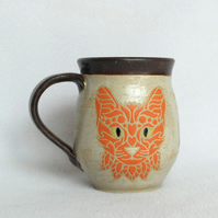 19-121 Handmade Ceramic Stoneware Orange Cat Mug