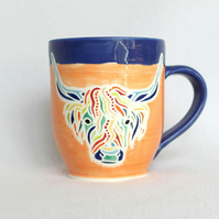 19-140 Handmade Ceramic Stoneware Highland Cow Cattle Mug
