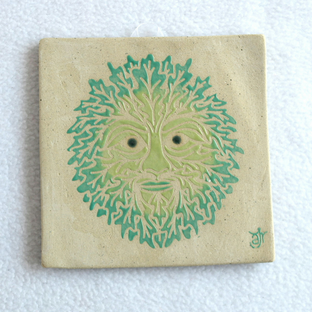 WP15 Wall plaque tile Green Man picture