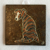 WP22 Wall plaque tile whippet dog picture