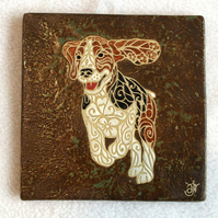 WP21 Wall plaque tile beagle dog picture (Free UK postage)