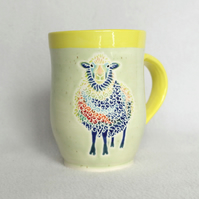 19-137 Handmade Ceramic Stoneware Sheep Mug (Free UK postage)
