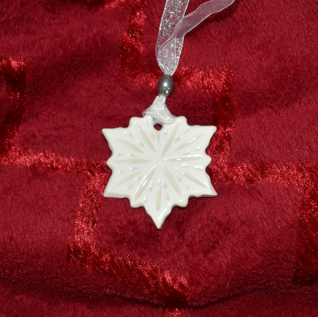 Snowflake Christmas tree decoration - carved pattern on each side