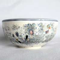 19-129 Bowl with multi-coloured speckled glaze