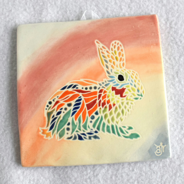 WP32 Wall plaque tile rabbit picture (Free UK postage)