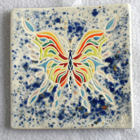 WP36 Wall plaque tile butterfly picture