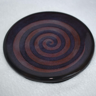 Wheel thrown purple and black spiral coaster (Free UK postage)