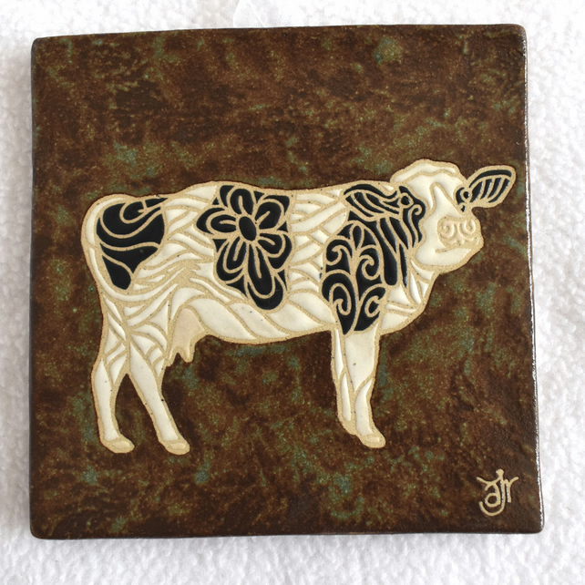 WP41 Wall plaque tile cow picture (Free UK postage)
