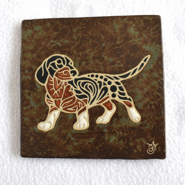 WP43 Wall plaque tile dachshund doxie sausage dog picture