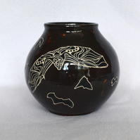 19-172 Handmade Ceramic Stoneware Bat Moon Bowl