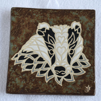 WP36 Wall plaque tile badger picture (Free UK postage)
