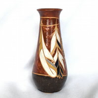 19-204 Stoneware pottery hand thrown bottle vase with feathers