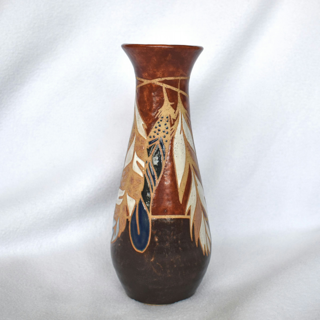 19-207 Stoneware pottery hand thrown bottle vase with feathers
