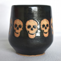 Skulls wheel thrown pottery wine cup tumbler (Free UK postage)