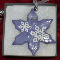 Snowflake Christmas tree decoration (Free UK postage)