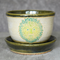 19-248 Hand thrown green man plant pot with integral saucer