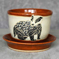 19-249 Hand thrown badger themed plant pot with integral saucer