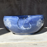19-257 Blue lace design yarn bowl (Free UK postage)