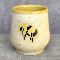 Bee Happy wheel thrown pottery wine cup tumbler