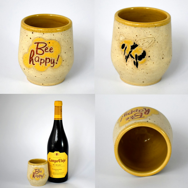 Bee Happy wheel thrown pottery wine cup tumbler (Free UK postage)