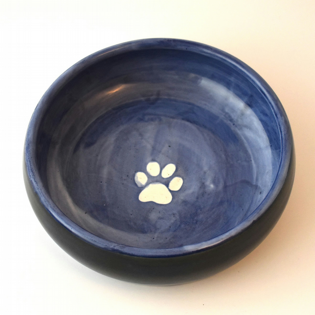 19-260 Hand thrown pawprint bowl in blue or purple (Free UK postage)